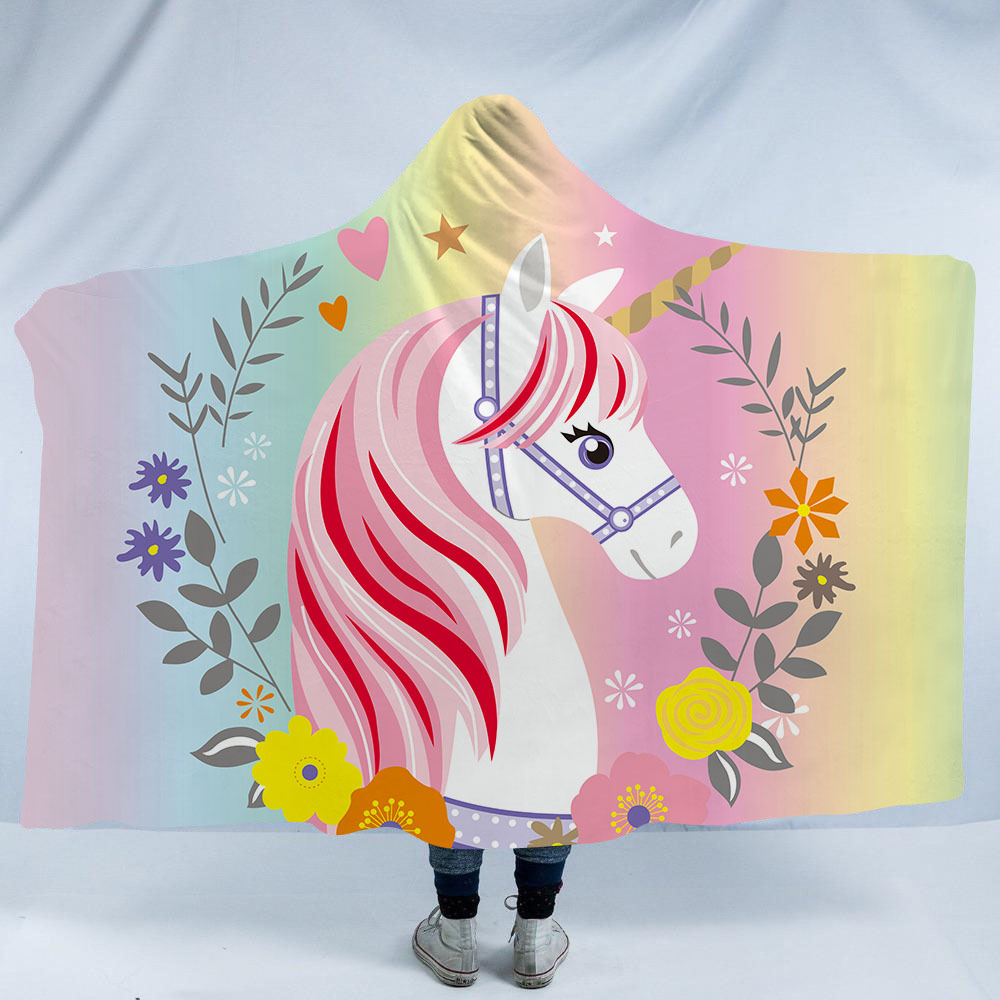 Unicorn 3D Printed Plush Hooded Blankets for Adults Kid Warm Wearable Fleece Woman Pink Throw Blankets Microfiber Cloak on Sofa
