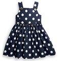 Британский стиль девочки сарафан, Хлопок свободного покроя платье, Следующий стиль, Синий платья, Белое пятно жилет платье для 2 - 5 лет