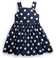 British Style baby girls sundress,cotton casual dress,next clothing style, blue dresses, white spot vest dress for 2-5 yrs