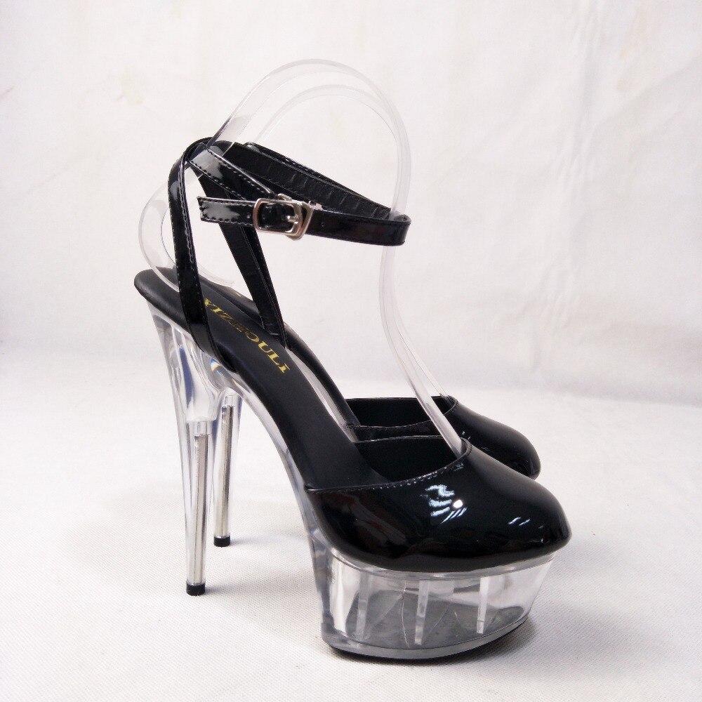 Новые сандалии со стразами в магазине на высоком каблуке 15 см были рекомендованы владельцем магазина для модных женских сценических сандал... - 6