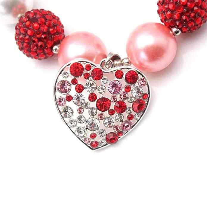 QUERIDA Rhinestone Chunky Colar Dos Namorados, Vermelho Rosa, Contas em Tamanho Da Criança Do Bebê Criança Meninas Jóias Bubblegum Gumball