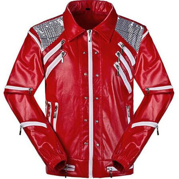 HOT Punk Red Zipper Michael Jackson Jackets MJ Beat It Coats Tailor Mens Sequined Jacket Outwear Imitation