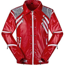 HOT Punk Red Zipper Michael Jackson Jackets MJ Beat It Coats Tailor Mens Sequined Jacket Outwear Imitation
