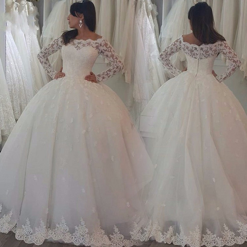 HQ Fabulous Lace Ball Gown Wedding Dresses With Lace