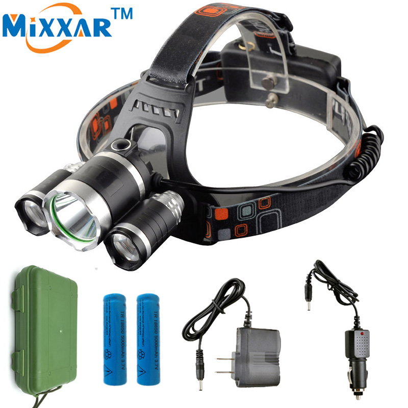 3 CREE XML T6 11000Lm LED Headlight Headlamp Head Lamp Light torch 2x18650 battery+EU/US Car charger for Fishing Camping Lights