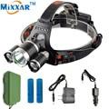 9000Lm 3 CREE XML T6 LED Headlight Headlamp Head Lamp Light 4-mode torch +2x18650 battery+EU/US Car charger for fishing Lights