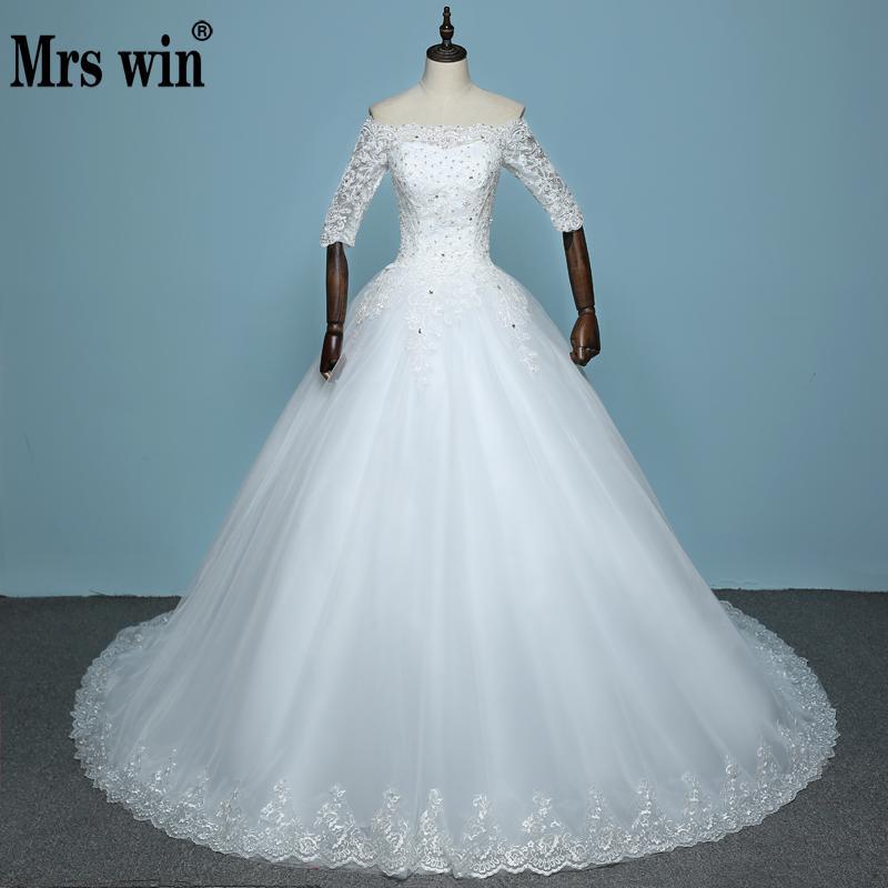 Vestido De Noiva 2019 3 4 Sleeved Luxury Wedding Dresses Bride Princess Royal Train Lace Elegant