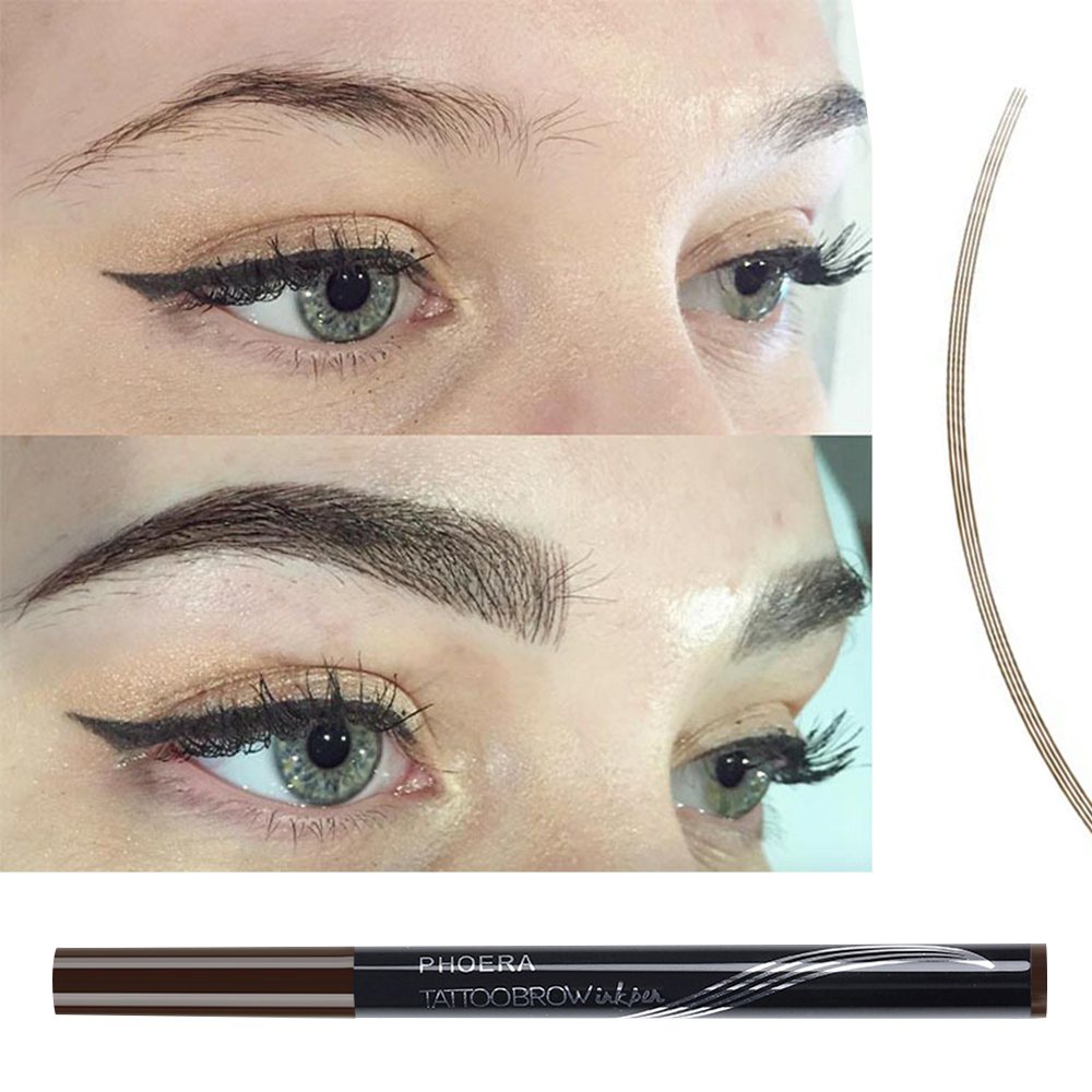 Phoera Eyebrow Pencil Waterproof Fork Tip Eyebrow Tattoo Pen 4 Head
