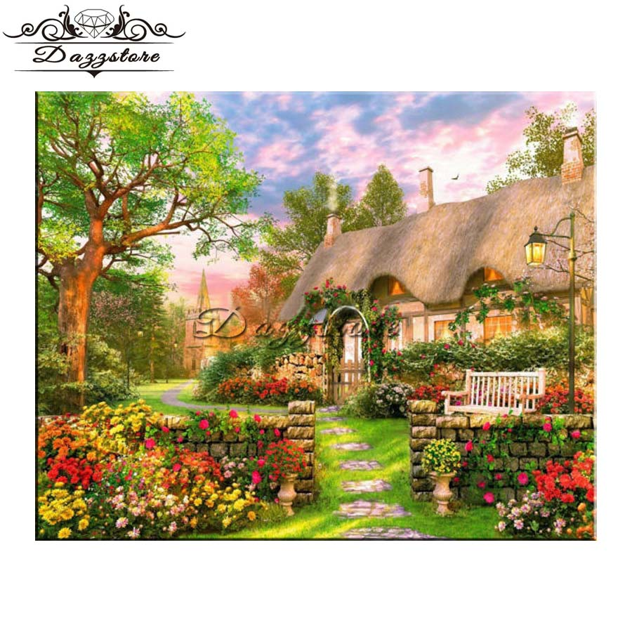5d diamond painting full square diamond mosaic diamond embroidery landscape garden house decorative picture pf rhinestone
