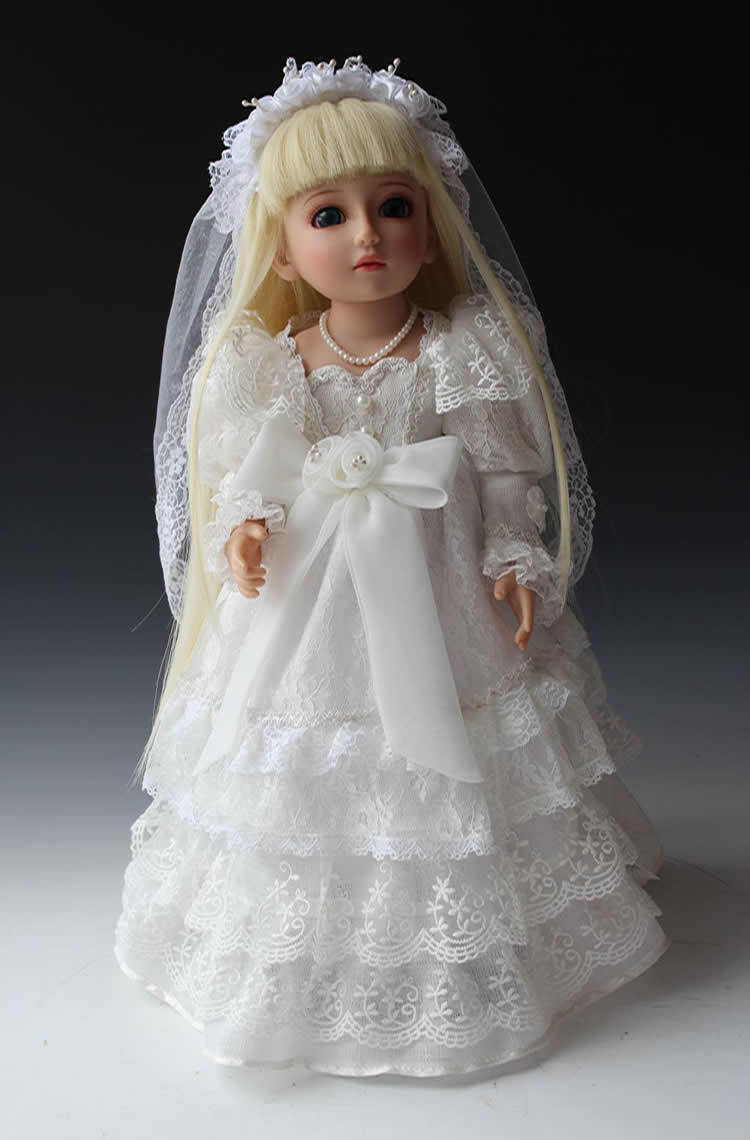 Full Vinyl SD/BJD Stunning Doll With Joints Wedding Dress Girl Style Living Doll Bride Wedding Gift Free Shipping luodoll bjd doll sd doll 1 4 girl luts hodoo bjd doll gift free eyes free make up