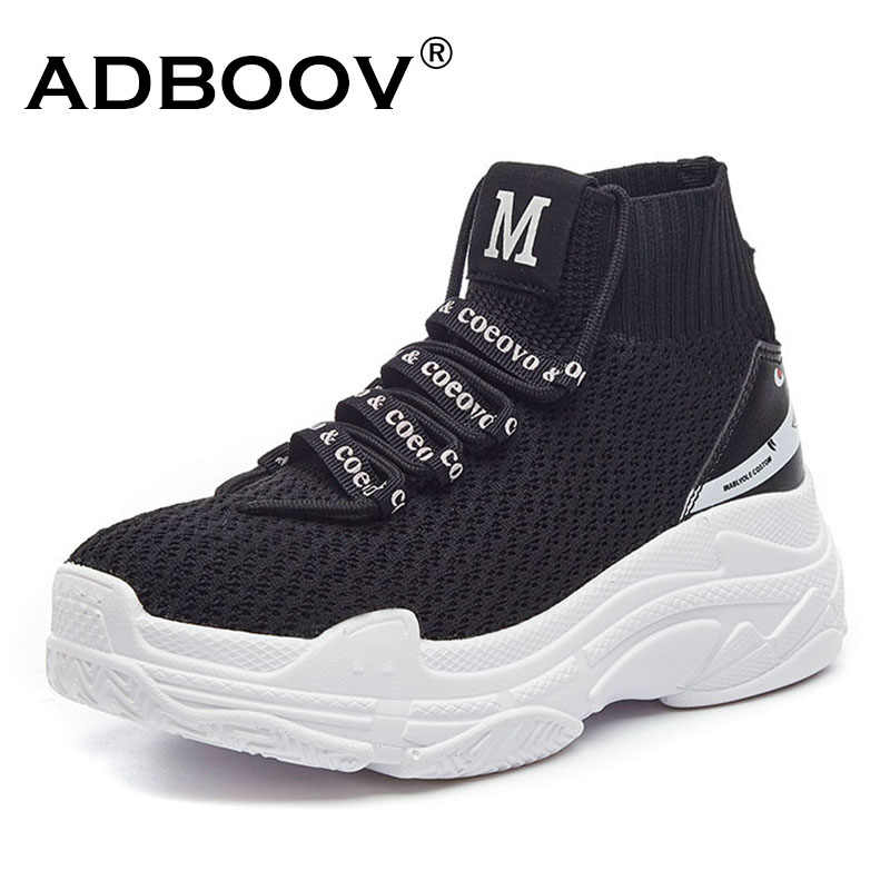 430f0b26e ... ADBOOV High Top Sneakers Men Unisex Knit Upper Breathable Shoes Fashion  Shark Logo Couple Black ...