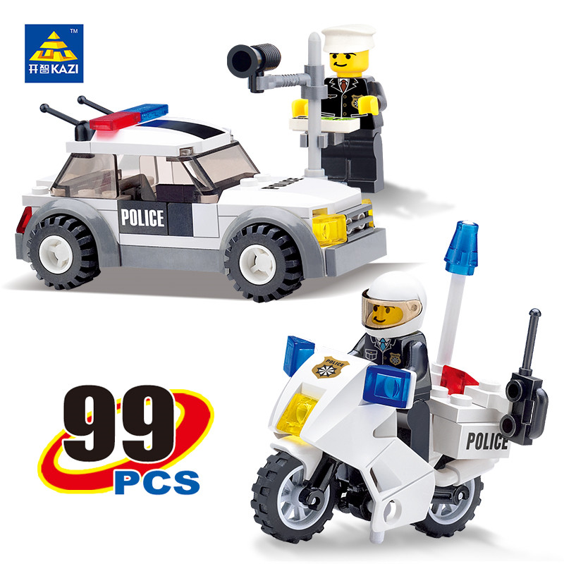 KAZI ctiy Police Motorcycle Patrol Car Building Blocks Compatible with other Bricks Educationa ltoys Brinquedos for boy 67314 police pl 12921jsb 02m