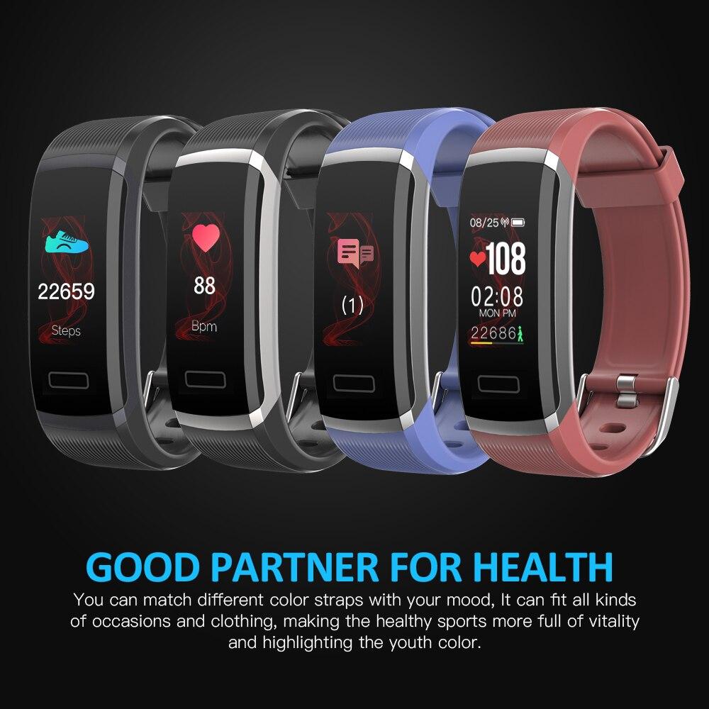 Monitor de Freqüência Inteligente para o Esporte Pulseira Inteligente Tela Colorida Cardíaca Fitness Rastreador Bluetooth Relógio