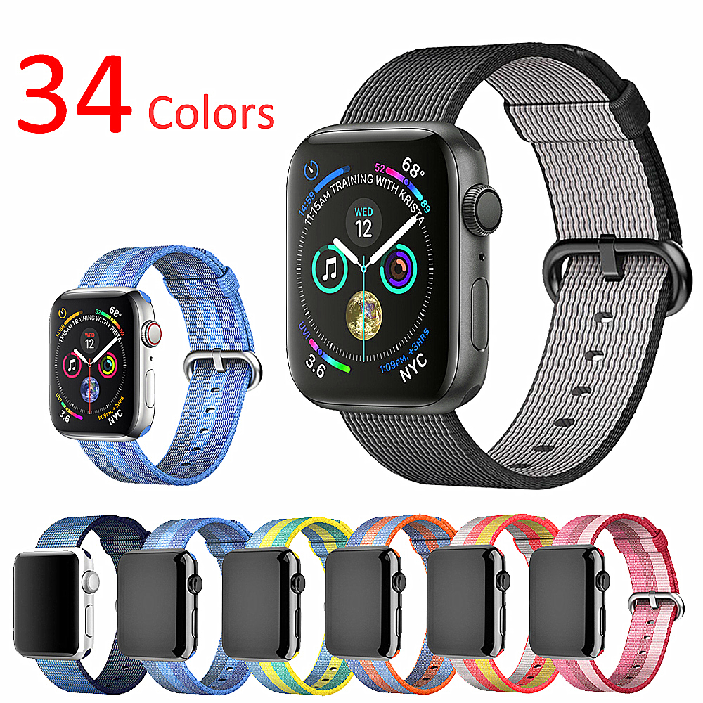 Sport Strap For Apple Watch 5 4 Band 42mm 44mm Iwatch  38mm 40mm Woven Nylon Classic Buckle Bracelet Belt For Apple Watch 5 4 3