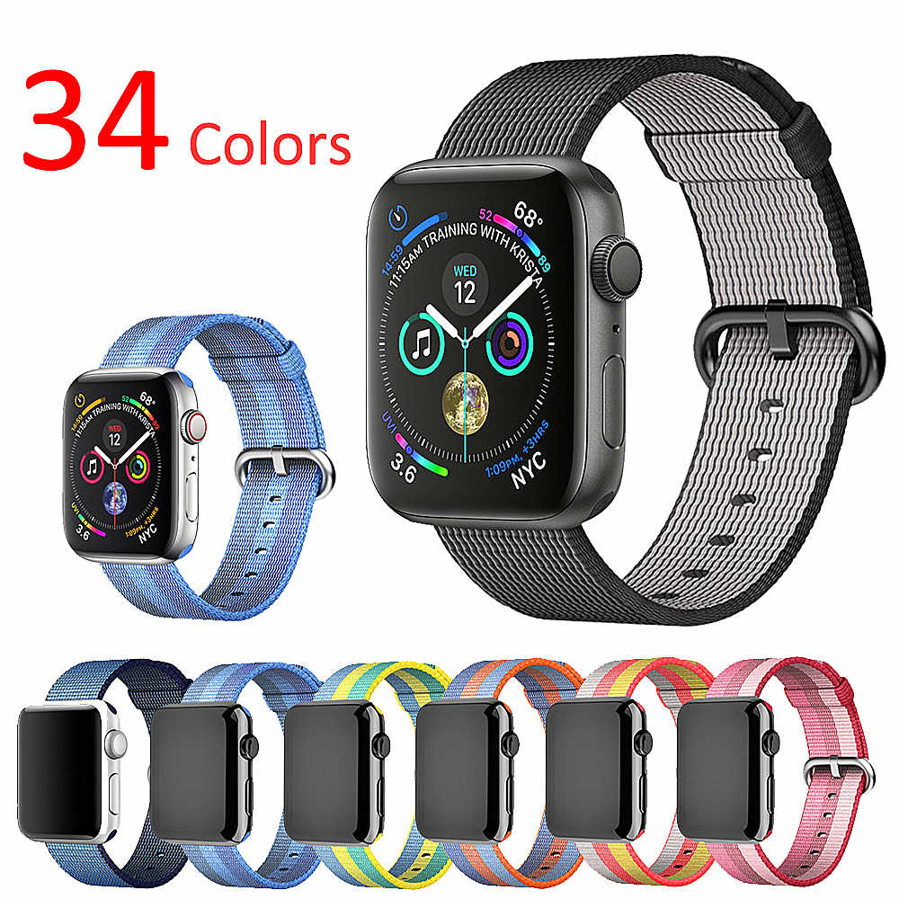 Sport Strap for Apple Watch Band 42mm 44mm iwatch band 38mm 40mm Woven Nylon Classic buckle Bracelet belt for apple watch 4 3 2