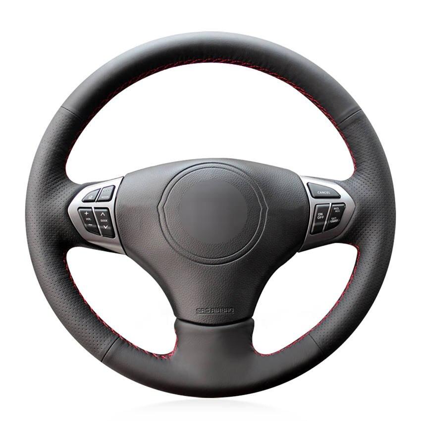 Couvre-volant de voiture antidérapant en cuir véritable noir cousu à la main pour Suzuki Grand Vitara 2006 2007 2008 2009-2014