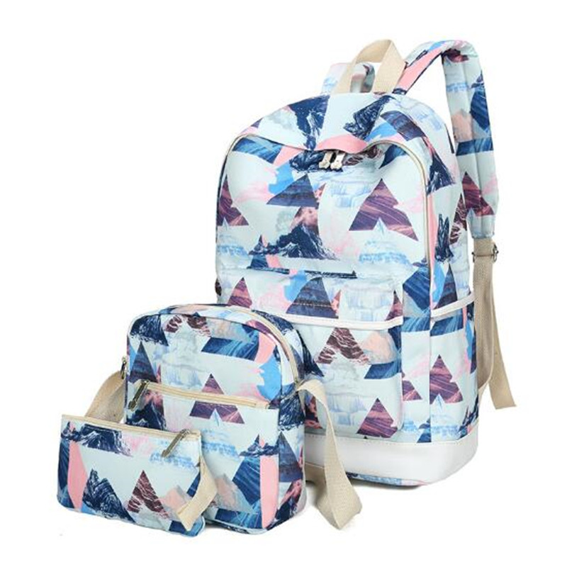 Women Backpack 3pcs set Casual canvas Printing School Bag Female Canvas Backpacks for Teenage Girls Travel
