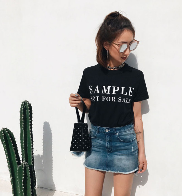 2017 Woman Summer Funny Fashion Sample Not For Sale Letter Print Tee