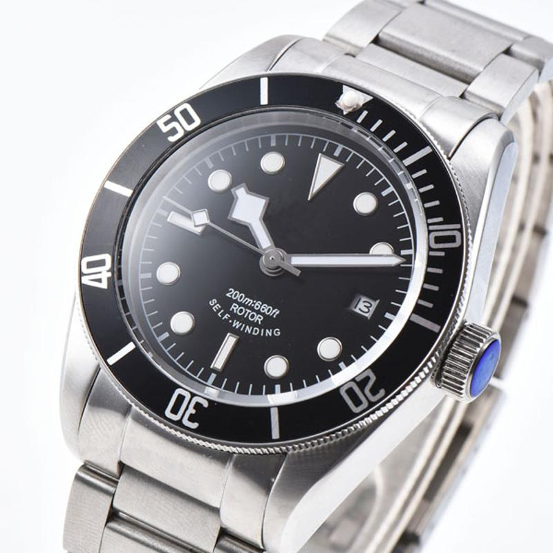 Corgeut 41MM Luminous Sapphire glass sterile black dial stainless steel strap Japan Miyota Automatic mens Watch 41mm corgeut sterile dial steel strap date sapphire glass miyota movement automatic mens watch
