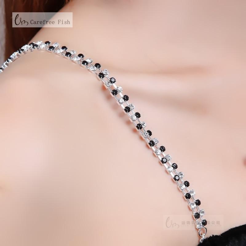 947ea2512f77a 2Pcs New Silver Plated Metallic Sexy Rhinestone Bra Straps For Women  Elegant Diamante Crystal Bra Shoulder ...