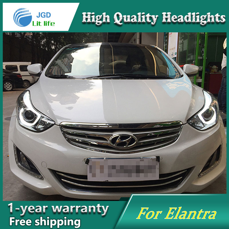 high quality Car Styling for Hyundai Elantra 2012-2016 Headlights LED Headlight DRL Lens Double Beam HID Xenon Car Accessories hireno headlamp for 2015 2017 hyundai ix25 crete headlight headlight assembly led drl angel lens double beam hid xenon 2pcs