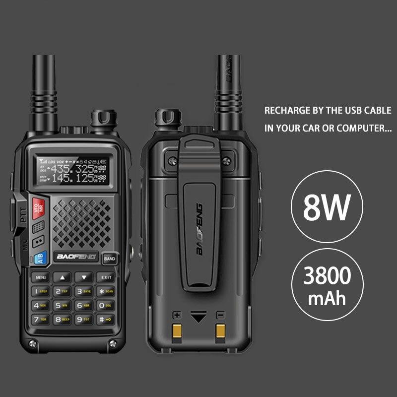 2018 d'origine BAOFENG BF-UVB3 PLUS 8 w Haute Puissance UHF/VHF Double Bande 10 km Longue Portée Talkie Walkie 3800 mah Batterie De Poche Radio