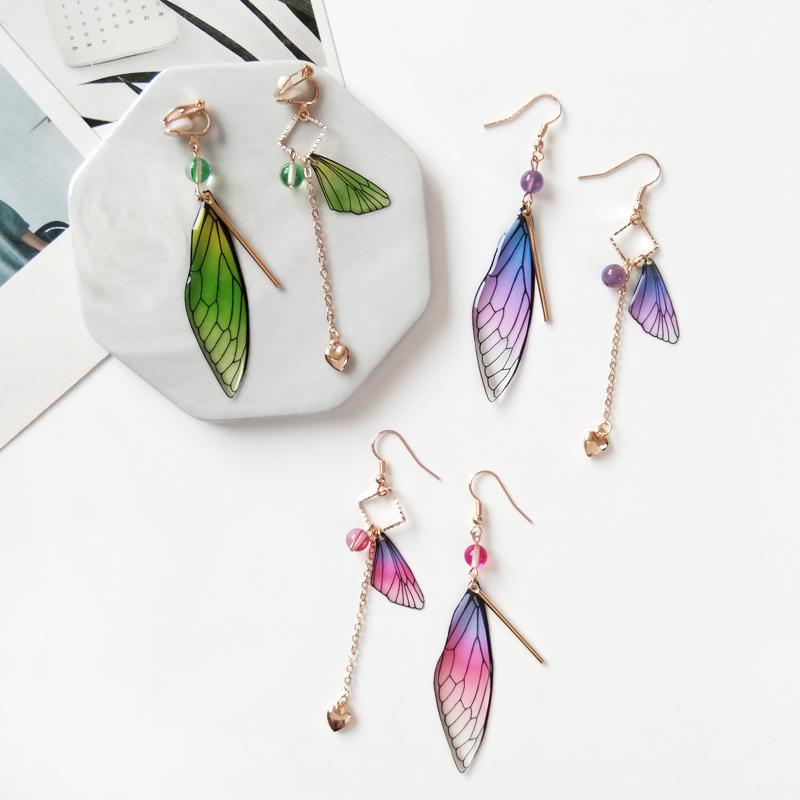 Timlee E042 Beautiful Fairy Tale Butterfly Wing Earring Asymmetric Dangle Earrings Fashion Accessories Wholesale(China)