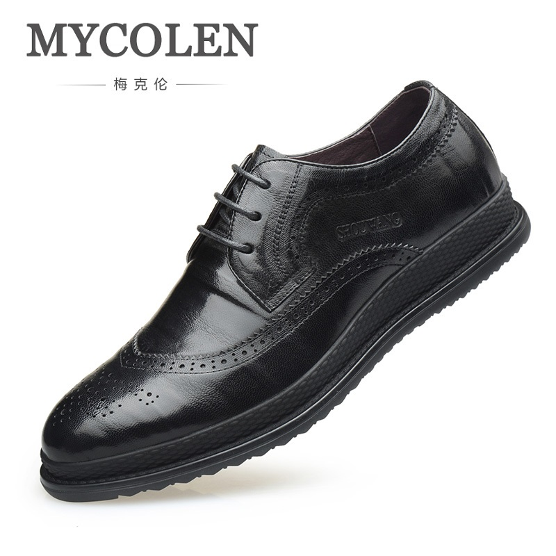 MYCOLEN 2018 Luxury Leather Brogue Men Shoes British Style Men Fashion Dress man Shoes zapatos de hombres de cuero de vestir cbjsho british style brogue shoes men s lace up casual leather men dress shoes flat solid color fashion bullock shoes man