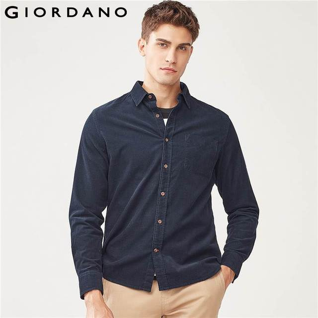 89c93f73e Giordano Men Shirt Solid Cotton Corduroy Slim Shirts Long Sleeves Plain  Casual Warm Button Shirts Pocket Brand Hombre Clothes