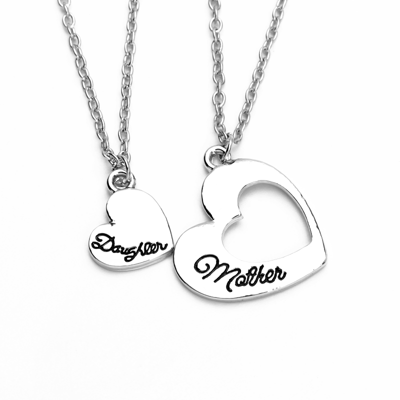 Best buy ) }}Statement Heart Mother Daughter Necklaces Hollow Splicing Necklace polishing letter Jewelry mother's day