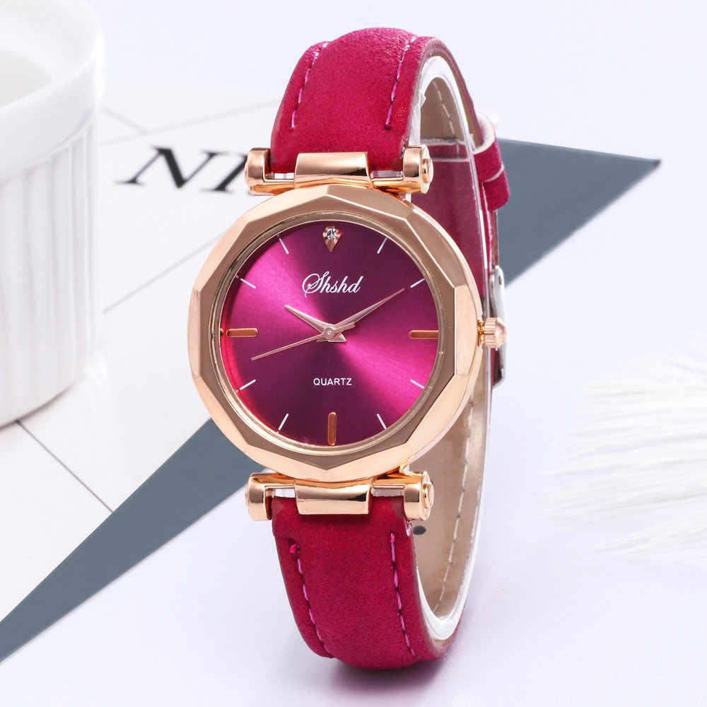 Mode femmes en cuir décontracté de luxe analogique Quartz cristal montre-Bracelet or strass Bracelet arc conception horloge dames