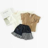 Летние Комплект одежды для девочки с коротким рукавом футболка + джинсовая юбка клетчатая юбка кружевные футболки для девочек футболки дет...