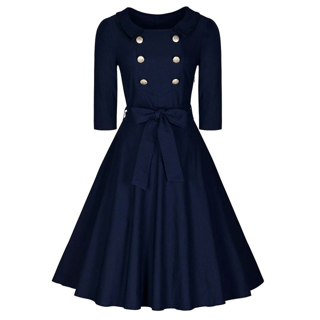 35322818f46 Women s Navy Style A Line Half Sleeve Retro Casual Dress Navy blue ...