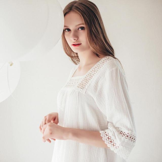 New arrival Korean style Cotton Princess Nightdress Women's Long Royal Nightgown White Sleepwear Ladies pijama feminino S223