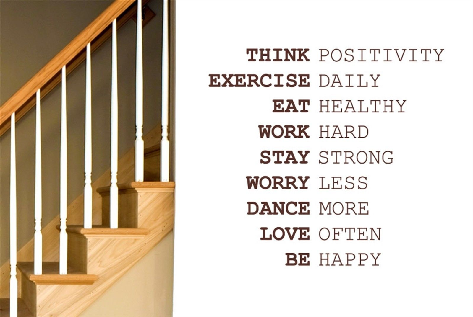 Q026 Think Positivity Exercise Daily Work Hard Wall Stiker Art Decals - Διακόσμηση σπιτιού - Φωτογραφία 2