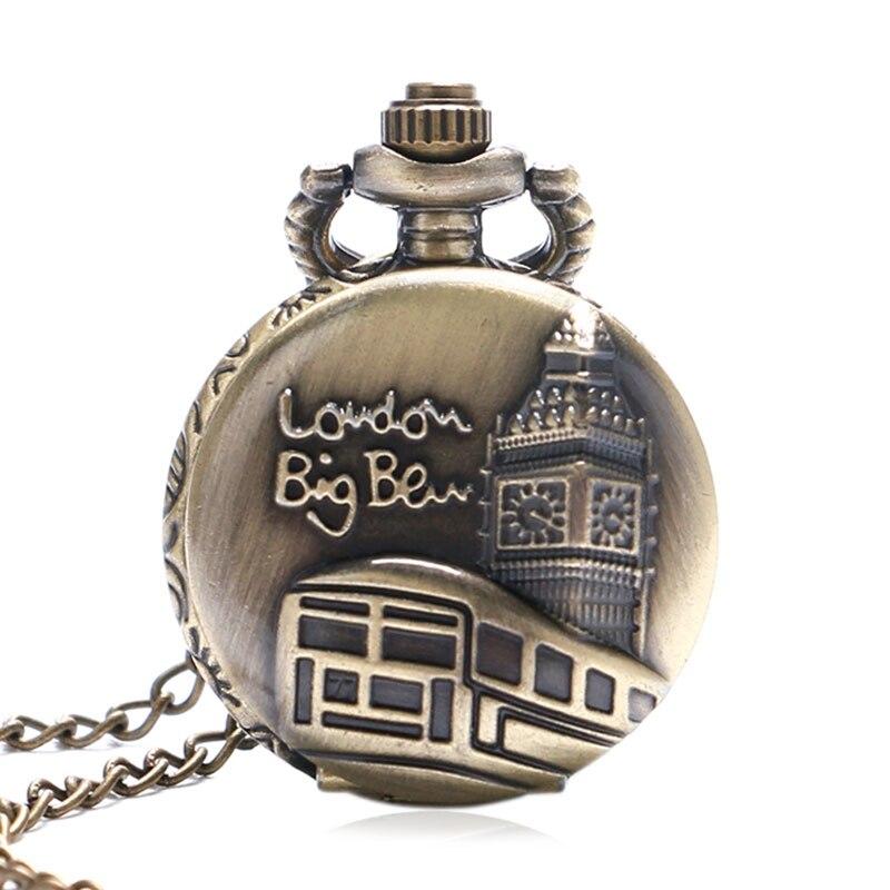 LONDON British Flag Pattern Vintage Bronze Pocket Watch Quartz Pocket Watch Chains And Fobs Watches Men Gifts Colar Masculino