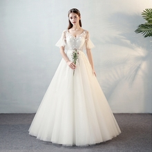 FOLOBE Luxury V-neck A-line Wedding Dresses Flare Sleeves