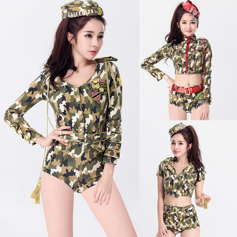 New Camouflage Female Officer <font><b>Halloween</b></font> Female Instructor <font><b>Cosplay</b></font> Clothing Women's Fashion <font><b>Sexy</b></font> Game Tights Women's Clothing image