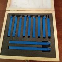 11pcs Mini 5/16 Carbide Tip Lathe Tool Set Metal Cutting Turning Boring Tools Set with Wooden Box For 45/75/90 Degree Cutting