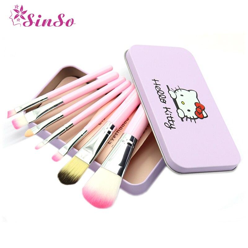 Sinso Hello Kitty Makeup Brush Kit 7 PCS make up brushes set Professional High Quality Cosmetic Tool With Metal Box Case Women Makeup brush