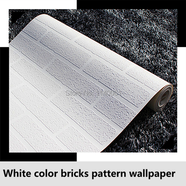 Free Shipping PVC Wallpaper Roll White Color 3D Bricks Wallpaper For Bedroom  Living Room Wall Paper