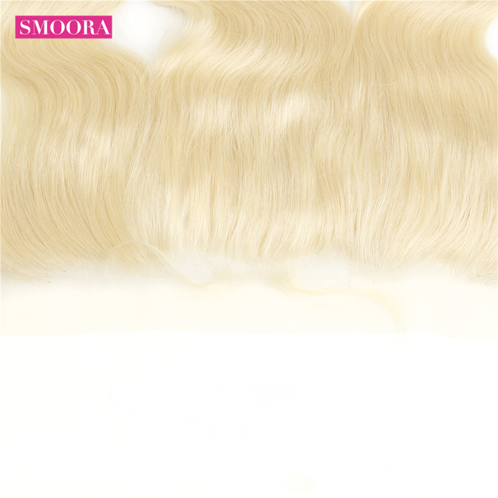 HTB1.rpPKNTpK1RjSZFKq6y2wXXay Smoora 613 Blonde Bundles with Frontal Peruvian Body Wave Blonde Human Hair Bundles with Pre Plucked Frontal Ear to Ear Non Remy