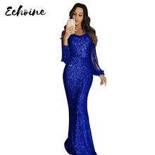Echoine Vestidos de Festa Apricot/Blue Sequin Fringe Long Sleeve Party Maxi Dress Women Sexy Hollow Out Bodycon Elegant Dresses summer gold black sequin dress women 2018 new backless halter hollow out sundress sexy club bodycon mini party dresses vestidos