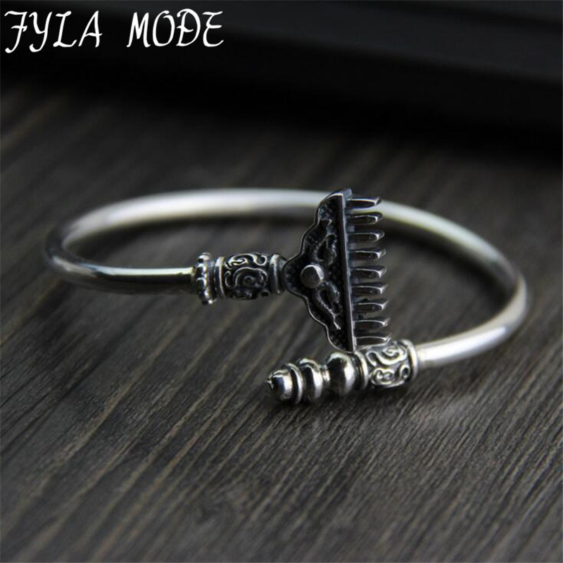 Trendy Geometric (iron-toothed) Rake Bangle S925 Sterling Silver Classic Bangles Fashion Jewellery Design Opening Men WomenTrendy Geometric (iron-toothed) Rake Bangle S925 Sterling Silver Classic Bangles Fashion Jewellery Design Opening Men Women