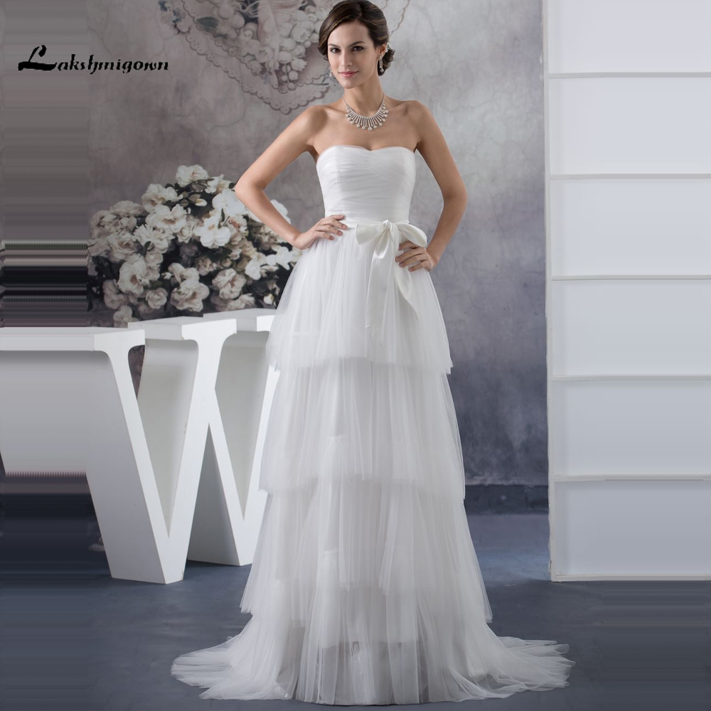 Simple Strapless A line font b Wedding b font font b Dress b font Tiered Tulle