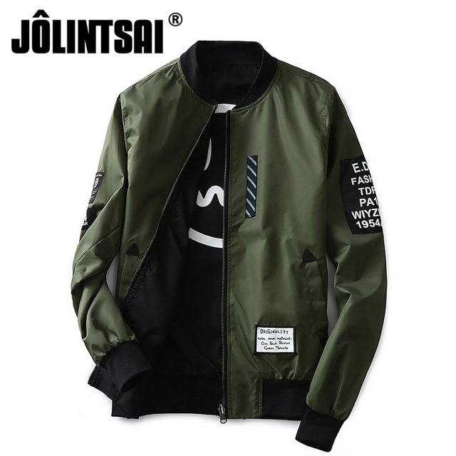 ff1368f248c4f Jolintsai Bomber Jacket Men Plus Size Patches Pilot Jackets Male Military  Army Both Side Wear Letter Zipper Windbreaker Men Coat