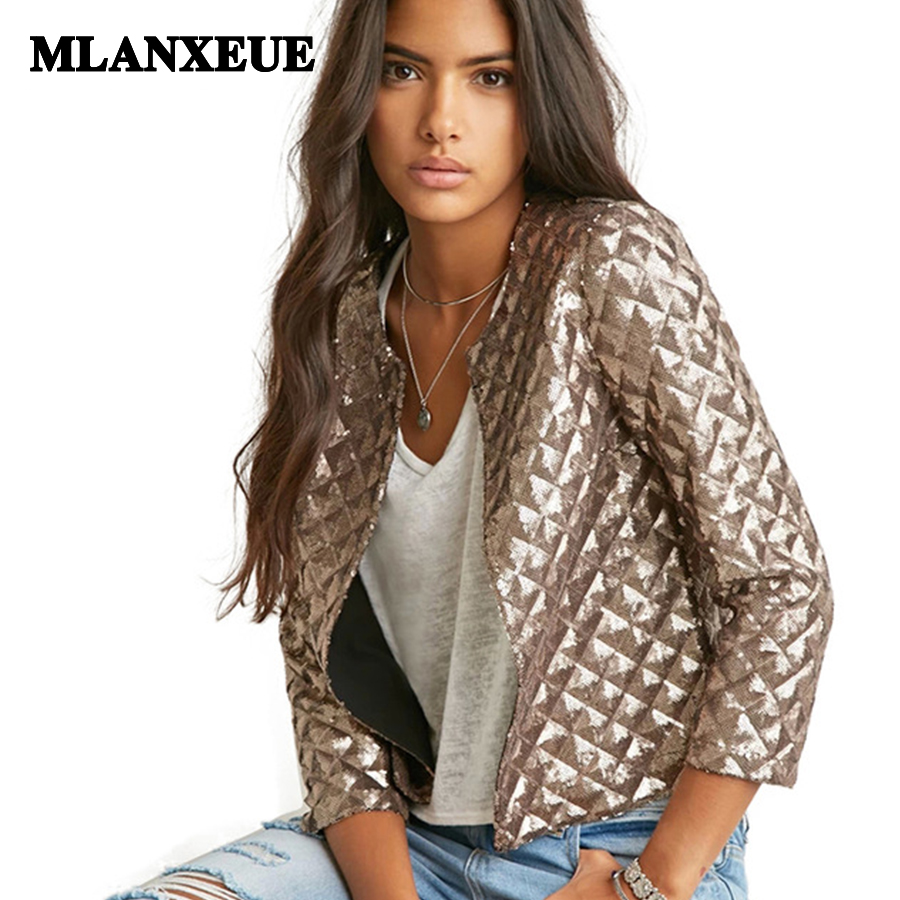 Sequins solid   jackets   women o neck no zip no button full sleeve open stitch outerwear womens in women's   basic     jacket   fall&winter