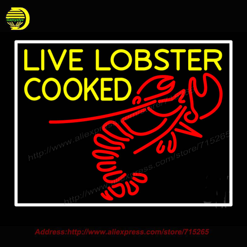 Live Lobster Cooked Neon Sign Bioshock Plasmids Glass Bulbs Handcrafted Recreation Home Room Iconic Light bud light board 24x31
