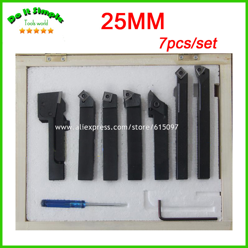7pcs/set 25mm Hard Alloy Blade Turning Tool,Lathe Tool Kits Cutter , Durable Cutting Tools best price mgehr1212 2 slot cutter external grooving tool holder turning tool no insert hot sale brand new