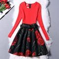 Primavera dress 2016 de la manera del o-cuello a-line mujeres dress vintage imprimir vestidos de fiesta vestidos tallas grandes
